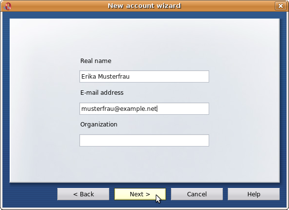 Entering real name and e-mail address