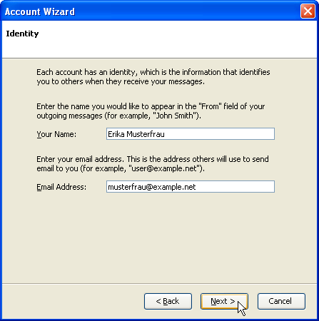 Account wizard: Identity