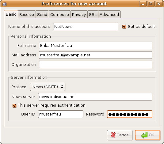 Preferences - Personal and server information