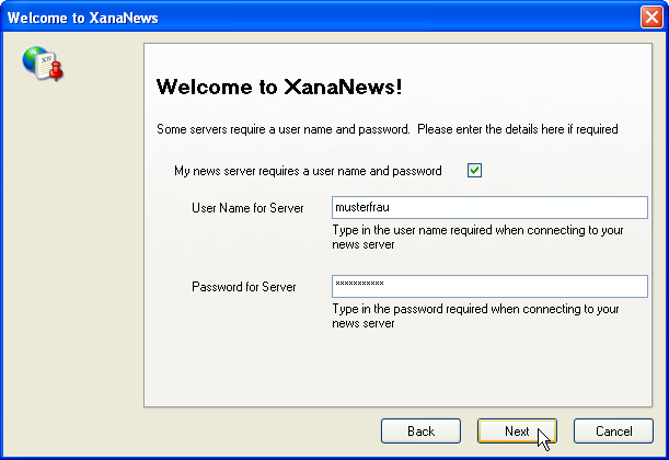 Welcome to XanaNews - Enter username and password