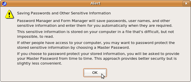 Password Manager warning